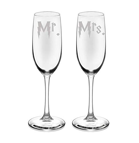 (Harry Mr. and Mrs. Etched Champagne Flute Set of TWO Wedding Gift Glassware (Potter Wedding Gift )