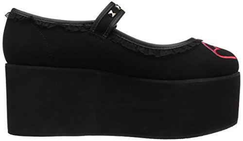 Demonia Women's Click 02 1 Mary Janes, Black Canvas, 8 M by Demonia