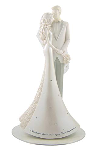 Cake Lace Topper - White Pearlescent Resin Wedding Cake Topper with Glittery Lace Veil, 8 3/4 Inches