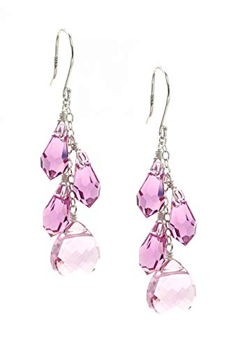 Sterling Silver Swarovski Elements Light Rose Colored Multi-Teardrop and Briolette Earrings