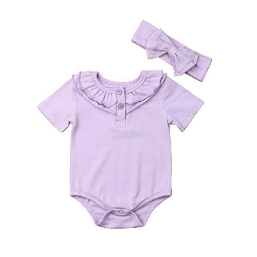 (Infant Baby Girl Basic Short Sleeve Ruffle Lapel Cotton Bodysuit T Shirts Tops with Headbands (Taro Purple, 12-18 Months))