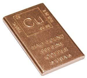 Half Pound Copper Bar Bullion Paperweight with Element Design (1/2 Pound Copper Bar) by Unique Metals