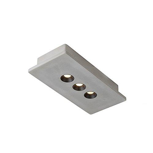 QAZQA Moderno Plafón industrial rectangular hormigón y negro 3 luces LED - TALAS Piedra/cemento Rectangular Incluye LED Max. 3 x 11.6 Watt: Amazon.es: ...