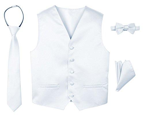 Spring Notion Boys' 4-Piece Satin Tuxedo Vest Set 5 White (Piece Five Set Tuxedo)