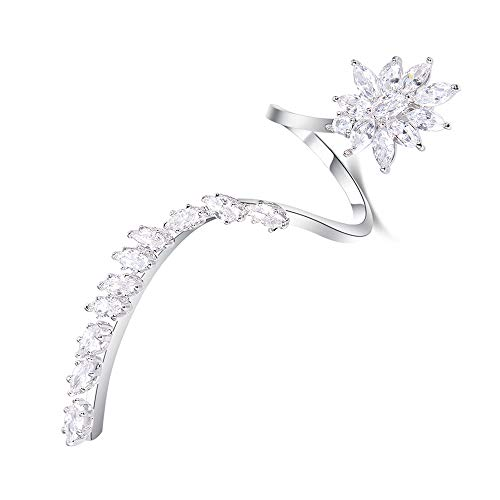 dnswez 18K White Gold Plate CZ Full Finger Open Ring Flower Unquie Cocktail Adjustable Statement Rings for Women (18ct Gold Plate White)