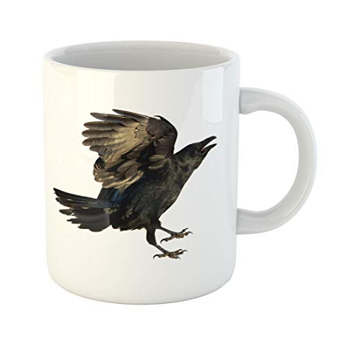 Semtomn Funny Coffee Mug Evil Birds Common Raven Corvus Corax Halloween Air Angry 11 Oz Ceramic Coffee Mugs Tea Cup Best Gift Or Souvenir -