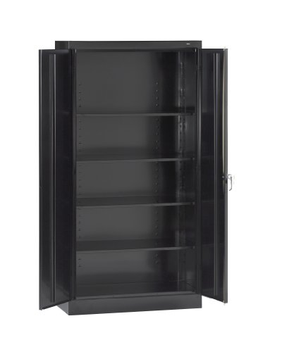 Tennsco 7218 24 Gauge Steel Standard Welded Storage Cabinet, 4 Shelves, 150 lbs Capacity per Shelf, 36' Width x 72' Height x 18' Depth, Black