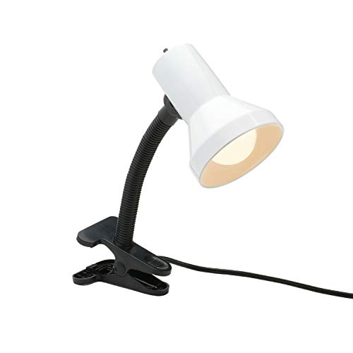 Xtricity Desk Lamp with Clamp Base and Adjustable Gooseneck, 7W A19 Led Bulb Included, 120V, Convenient On/Off Switch, White Finish
