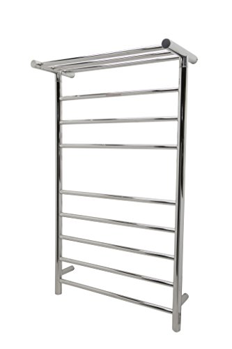 ANZZI Eve Modern 8-Bar Wall Mounted Towel Warmer with Top Shelf in Chrome | Energy Efficient 93W Electric Plug in Heated Towel Rack for Bathroom | Steel Towel Heater Rail with On/Off Switch | TW-AZ012