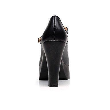 LvYuan-GGX LvYuan-GGX LvYuan-GGX Damen High Heels Komfort Leder Frühling Herbst Normal Komfort Blockabsatz Schwarz 7 5-9 5 cm schwarz us8.5   eu39   uk6.5   cn40 65a4e1