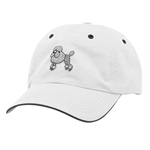 (Speedy Pros Richardson Running Cap Poodle White Embroidery Dog Name Polyester Hat Hook & Loop - White/Charcoal, Design)
