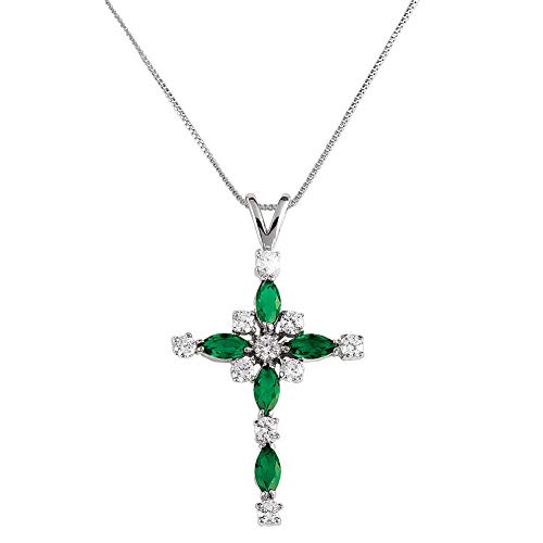 Plated Cross Emerald Silver - Collections Etc Women's Emerald Crystal Cross Silver Plated Pendant Necklace with Gift Box