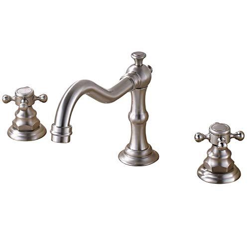 Rozin Widespread 3 Holes Bathroom Sink Faucet Dual Cross Knobs Vanity Mixing Tap Brushed -