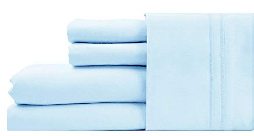Soft Like Egyptian Super Luxurious 1000 Thread Count Pure Cotton Sateen Weave Deep Pocket 4 PC Queen Sheet Set Sky (Best Percale Sheets 2019)