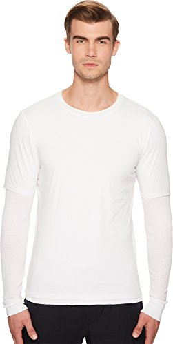 Vince Men's Cotton Double Layer Long Sleeve Tee, Optic White, M