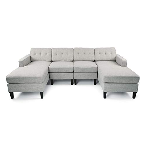 Jean Modern Fabric Chaise Sectional, Light Gray
