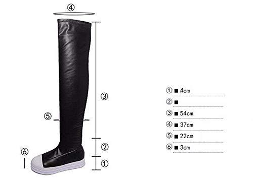 Cilindro Deed La Gruesos De Las 38 Zapatos negro Del Parte 35 Eu Inferior Eu Con Rodilla Señoras Un Alto 'boots Los Ocio rFx7IqwF0