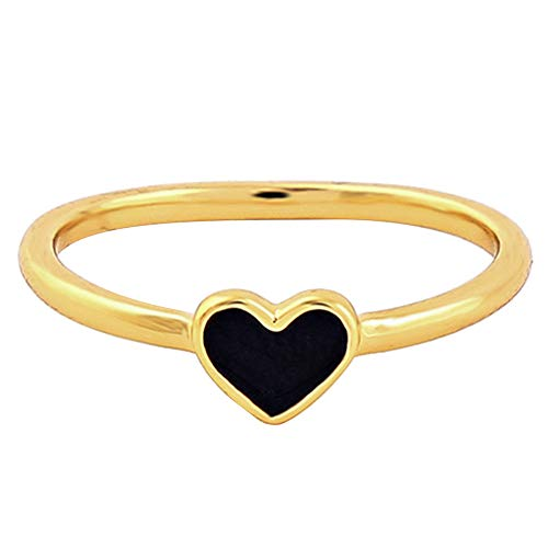 - lEIsr00y Couple Ring, Simple Drop of Oil Love Grooming Fingers, Copper, Romantic Women Enamel Love Heart Finger Ring Party Jewelry Black