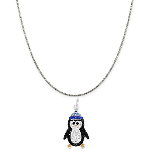 Sterling Silver Crystal Penguin Charm Pendant on a Sterling Silver Rope Chain Necklace, 20