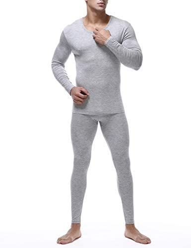 Mens Soft Thermal Underwear Set Cotton Long Johns Underwear Base Layer Top and Bottom