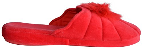 fur pom pom Real EZSTEP Women's Lucy Slippers Red rabbit Gemelli 0qXO1