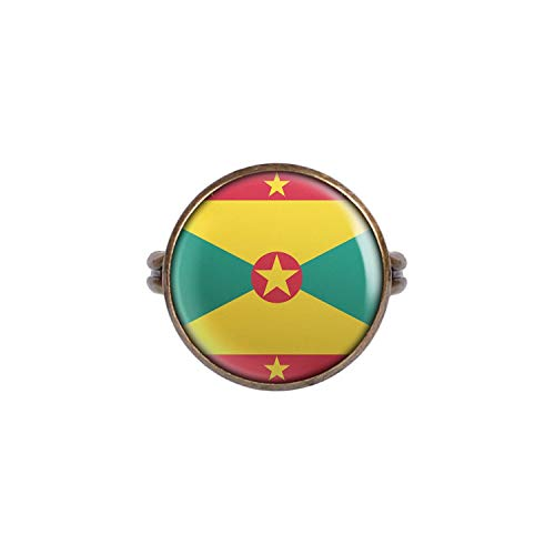 Mylery Ring with Cabochon Picture Grenada St. George's Flag Bronze 0.63 inch