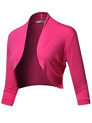 SSOULM Women's 3/4 Sleeve Shirring Bolero Shrug Cardigan Fuchsia XL