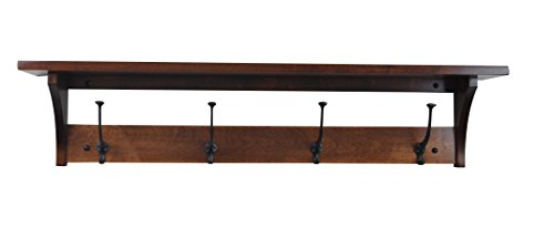 Wood Coat Rack Shelf Wall Mounted, Shaker, 3 Hook, Brown Maple Wood, Contact us with your stain or paint choice, Custom Available