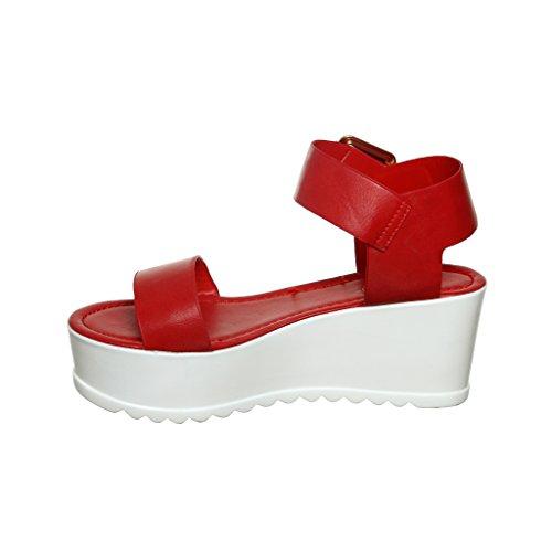 Single Strap Flatform Pumped Up Sandals (9, redcrp) [Apparel]