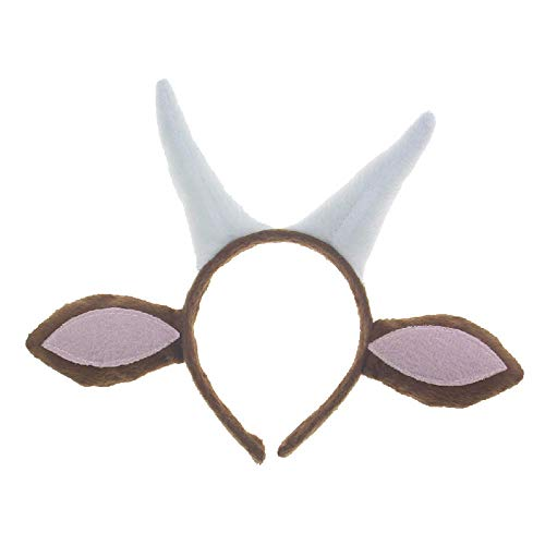 Pagreberya Goat Horns Headband with Ears- Goat Horns and Ears Costume - Goat Ears Headband with Horns - Goat Headband ()