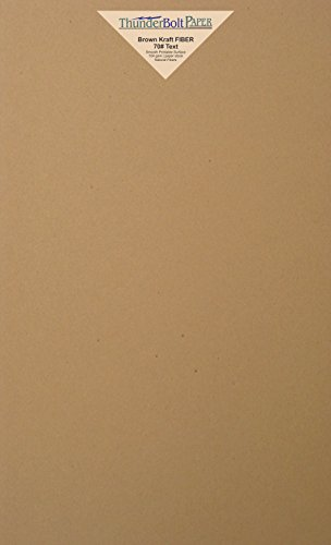 150 Brown Kraft Fiber 28/70 Pound Text (Not Card/Cover) Paper Sheets - 8.5 X 14 Inches - 70 Pound Weight Legal|Menu Size - Rich Earthy Color with Natural Fibers - Smooth Finish by ThunderBolt Paper