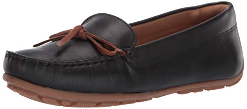 (CLARKS Women's Dameo Swing Driving Style Loafer Black Leather 085 M)