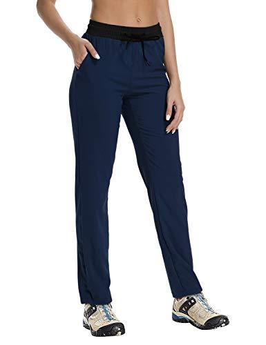 (FitsT4 Women's Light Weight Quick Drying Outdoor Hiking Trekking Cargo Pants with Drawstring Hem Navy)