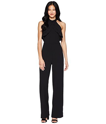 bebe Womens Ruffle Halter Neck Jumpsuit Black 10