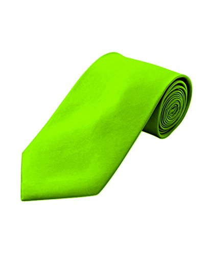 Men's Polyester Classic Solid Neckties-Neon Green ()
