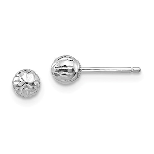 14k White Gold 4m Ball Post Stud Button Earrings Fine Jewelry For Women Gift Set