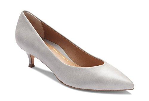 Vionic Women's Kit Josie Kitten Heels - Ladies Pumps with Concealed Orthotic Arch Support Light Grey Leather 11 M US