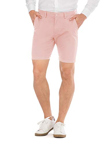 - HONTOUTE Men's Casual Pants Slim fit 7 Inch Short Mens Chino Shorts with Pockets Pink 38