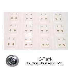 Studex Sterilized Piercing Earrings * Ear Stud * Mini * Stainless * April * 12 Pair Individually Pk (Sterilized Earrings Studex Piercing)