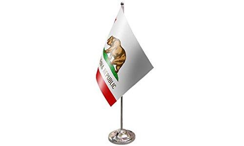 AZ FLAG Prestige TISCHFLAGGE KALIFORNIEN 22x15cm Metall flaggen KALIFORNISCHE Bundesstaat TISCHFAHNE 15 x 22 cm