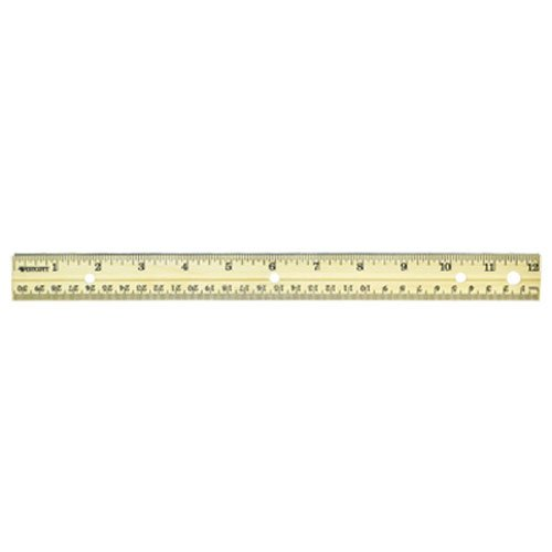 Westcott Hole Punched Wood Ruler English and Metric With Metal Edge, 12 Inches 12 Wood School Ruler
