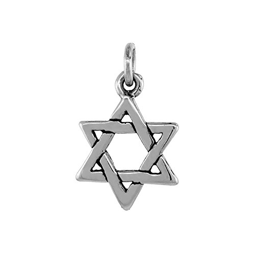 Sterling Silver Star of David Necklace Antiqued Finish 5/16 inch, 16 inch Chain BX_15