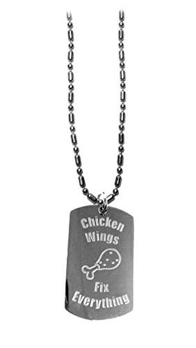 (Hat Shark Chicken Wings Fix Everything - Luggage Metal Chain Necklace Military Dog)