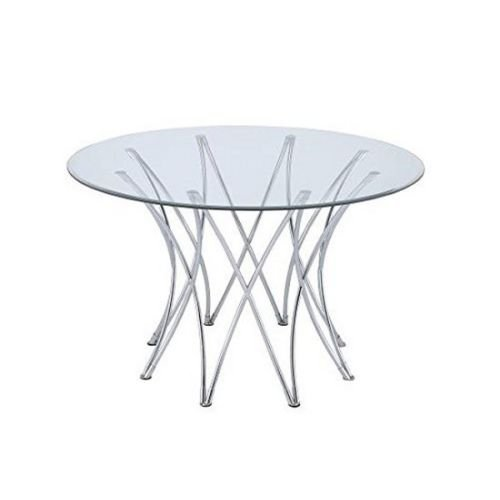 Nikkycozie Glass Round Coffee Table Home Furnishings Dining Table Base Chrome NEW