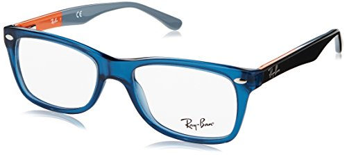 Ray-Ban RX5228 Square Eyeglass Frames, Blue/Demo Lens, 50 ()