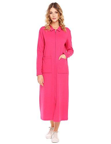 SE MIU Women Plus Size Robe Sleepwear With Pockets Zipper Front Soft Bathrobe ()