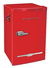 Welcome to the world of quality built, affordable kitchen products. Introducing the beautiful retro 3.2 CU. FT compact refrigerator! This refrigerator is at the next level! The fridge is happy hour ready with an attached bottle opener, chrome...