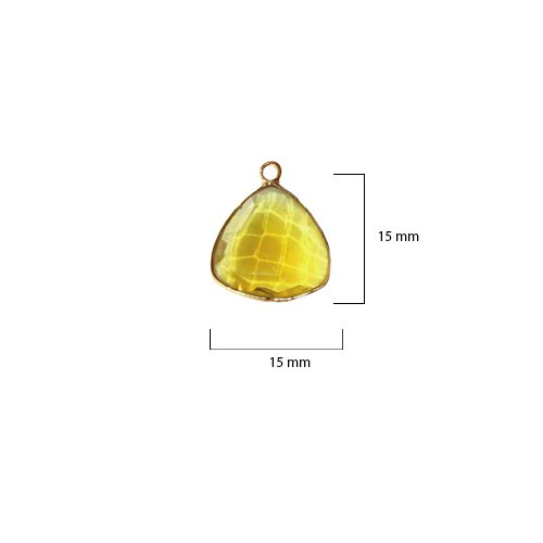(2 Pcs Lemon Triangle Beads 15mm 24K Gold Vermeil by BESTINBEADS, Lemon Hydro Quartz Triangle Pendant Bezel Gemstone Connectors Over 925 Sterling Silver Bezel Jewelry Making Supplies)