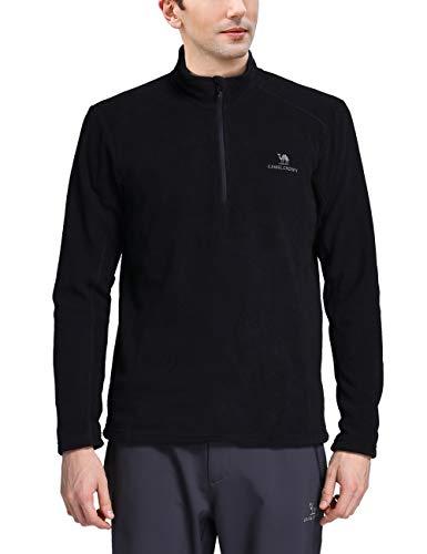 Performance 1/2 Zip Pullover Jacket - Camel Half Zip Fleece Jacket Men Long Sleeve Pullover Lightweight Outdoor Sweatshirt