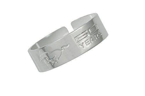 (Celebrate the iconic Mustang's history and proudly display it's 50 YEARS Anniversary with this exclusive ring made of Chrome plated metal. Official licensed Ford product. For a man or woman. Med. 7-9)
